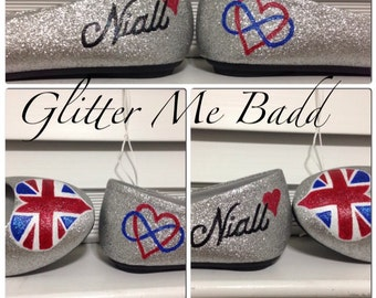 One Direction Inspired Glitter Flats with name