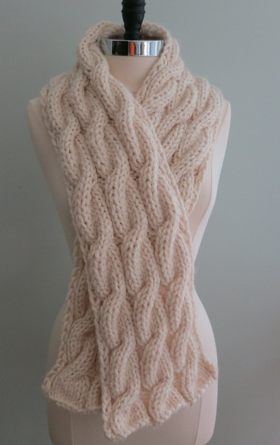 Scarf Knitting Pattern, Bulky Scarf, Cable Scarf from WomanOnTheWater on Etsy...