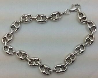 Large Vintage Sterling silver heavy 8 inch bracelet