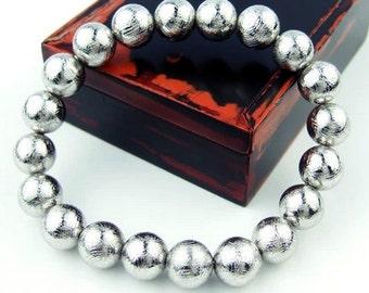 AAA Grade Genuine Gibeon Meteorites Bracelets 10MM, Natural Round Meteorite Beads 10MM, Genuine Meteorite Jewelry