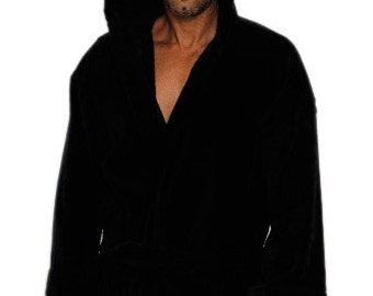 Black Hooded Bathrobe - Personalized Black Hooded Turkish Robe
