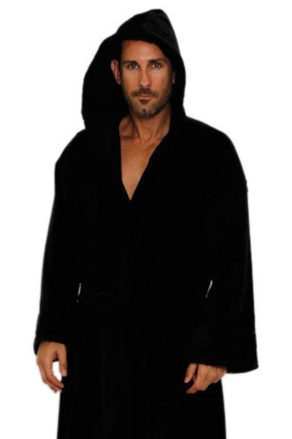 black hooded bathrobe personalized black hooded turkish robe. Black Bedroom Furniture Sets. Home Design Ideas