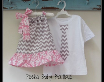 Matching Brother and Sister Set in Grey Chevron with Pink Damask