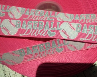 "7/8"" Glitter Pink BASEBALL DIVA Grosgrain Ribbon sold by the yard"
