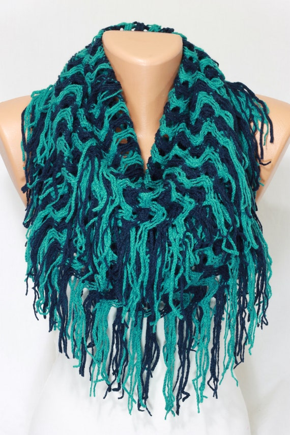 on sale teal navy knit fabric infinity scarf fringe scarf fall