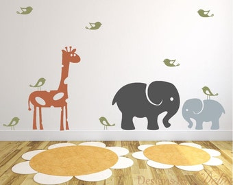Giraffe, Elephant, and Baby Elephant Wall Decals