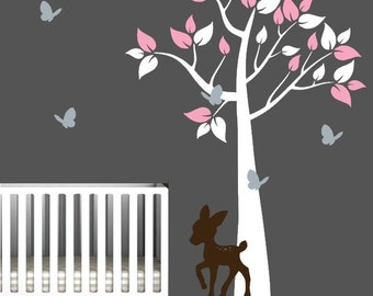 Tree Decal for Nursery with Butterflies and Deer