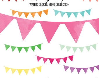 Watercolor Bunting Collection- Commercial and Personal Use