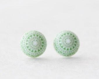Stud Earrings * Vintage Green Mosaic Stud Earrings * Forest Green and White Vintage West German Etched Mosaic Earrings  / SE101