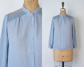 VINTAGE 1970s chiffon button down lace blouse | Checkered pattern baby blue secretary blouse | Gingham long sleeve blouse