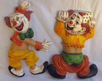 Beautiful Vintage  HOMCO CLOWNS Set of Two
