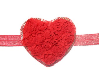 Valentine's Day Hot Pink and Red Heart Baby/Infant/Newborn Headband, Makes Great Photo Prop