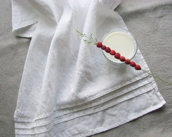 White linen tea towels- kitchen favors- hand towel- set of 2- prewashed and softened- provence style