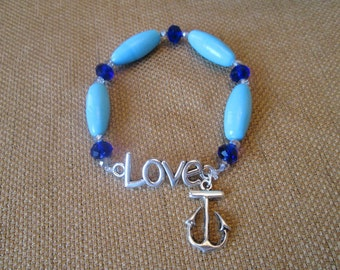 Swarovski Crystal and Glass Anchor Bracelet by The Darling Duck