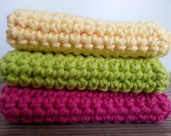 Bright Crocheted wash cloth/ dish cloth set of 3 yellow pink lime green