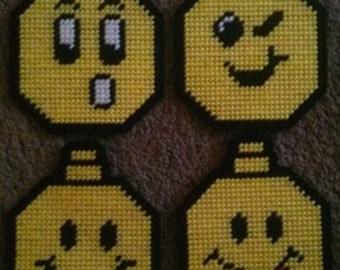 Smiley Face Plastic Canvas Ornamnet Pattern Set