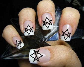 Supernatural nail etsy supernatural 36 unicursal hexagrams nail art hxb aleister crowley waterslide transfers not stickers prinsesfo Image collections