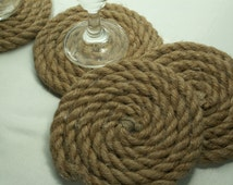 Rope Coasters Set of 6  Coasters  Rope , Wedding  Decor Country Natural