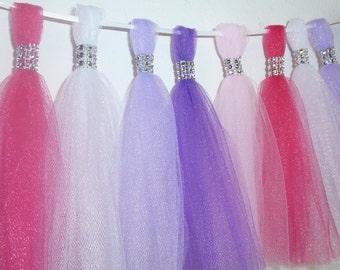 lavender purple hot pink tulle tassel garland bling rhinestone fuchsia wedding new baby shower gift doc princess birthday nursery decor