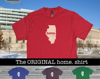 Illinois Home. shirt- Men's/Unisex SOFT red green blue purple
