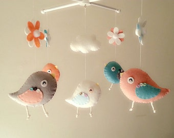 "Baby crib mobile, Bird mobile, felt mobile, nursery mobile, baby mobile, girl mobile ""Bird - Guave and Swan"""