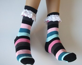 striped socks,Lace boot socks,  girly boot socks, boot cuffs, birthday gifts