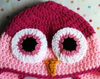 Handmade Crochet Childrens Owl Earflap Hat Pink