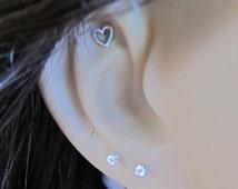 Tiny Heart Cartilage Earring, Heart Tragus earring, Nose stud, Helix earring