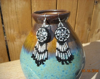 black and sterling silver earrings