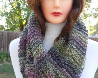 Cowl Scarf Shawl Hood, Knitted Neckwarmer, Circle Scarf,  Echo Color