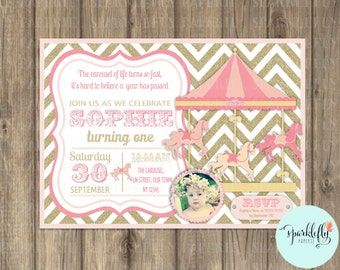 Carousel Invitation Carnival Invitation Printable Pink Gold Glitter by Sparklefly Paperie
