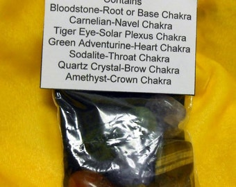 Hand Made Chakra Stone Set with Velvet Bag Pagan Wicca Witchcraft Feng Shui Health Prosperity Luck Love Adventure
