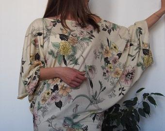 Long Jersey Tunic Over Size Long BlouseTop Asymmetric Tunic Mini Dress & Nara DT006