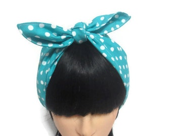 Retro hair wrap, rockabilly hair scarf, pin up hair scarf, hair accessory, blue/turquoise with white spots