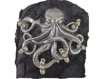 Large Silver Octopus - Black Suede Fish Leather Cuff Bracelet