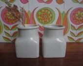 Two Arabia Finland White Spice Jars Small Flower Vases Home Decoration Mid Century Modern Scandinavian Design by Ulla Procope Scandinavia