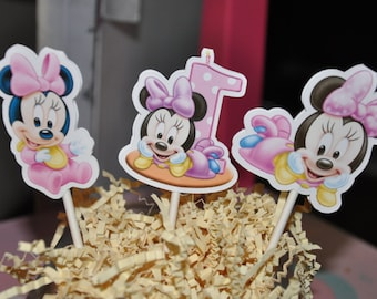 Baby Minnie Mouse 1st Birthday Cupcake Toppers Set of 12