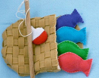 Felt Fishing Game Kids Travel Toy with Pink, Purple, etc Tropical Fish Set -- Hand Embroidered Border