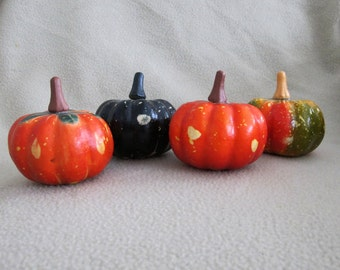 Vintage 1990s Halloween Fall Autumn Harvest Thanksgiving Realistic Artificial Gourds Decorations Set of Four
