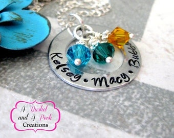 Custom Hand stamped Mother's or Grandmother's washer necklace with birthstones