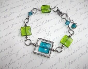 Geometric blue and lime green square tile bracelet