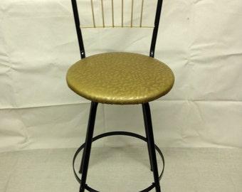 Bar Stool Cosco Style Mid Century Mod 50s 60s Black Gold