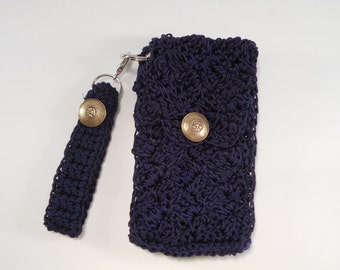 Navy Blue Crocheted Nylon Cell Phone Wristlet and Key Chain Key Fob Wallet