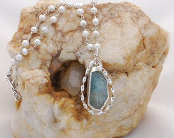 Sterling Silver Labradorite and Seed Pearl Necklace