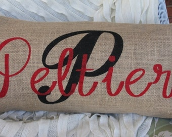 Personalized Painted Burlap Pillow, 24 x 12, made to order