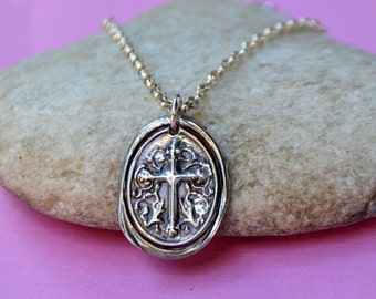 Fine Silver Cross Pendant Necklace - Cross Medallion - PMC Fine Silver