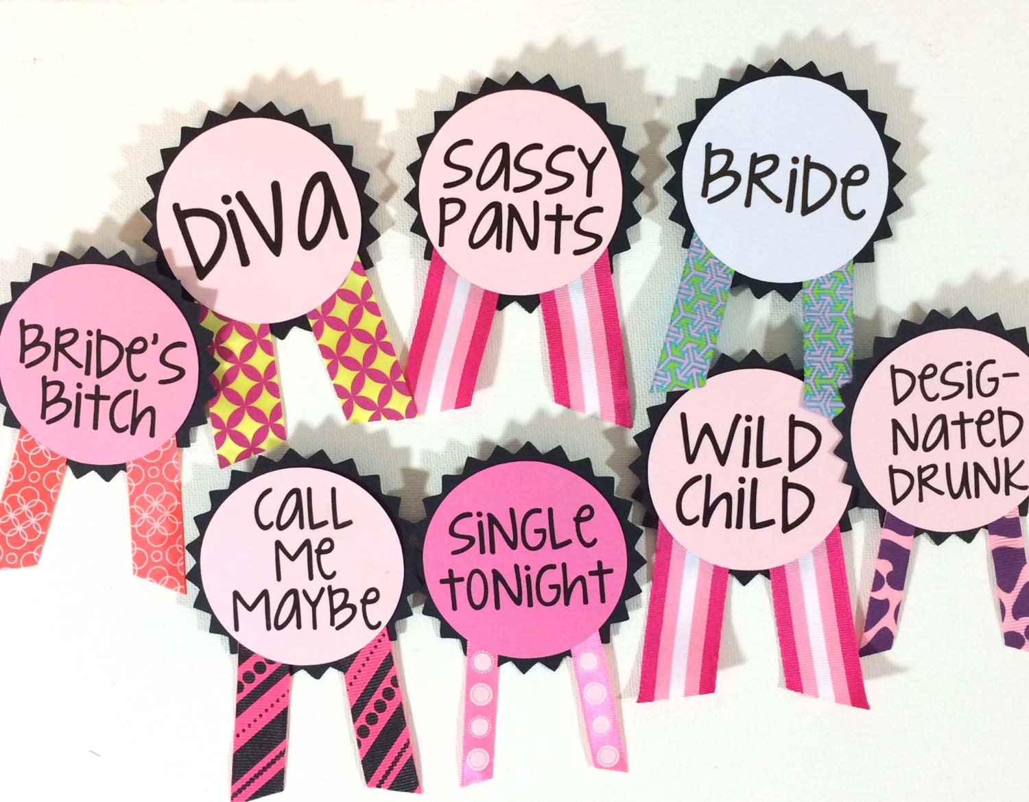 Custom bachelorette party pins name tags bachelorette sash for Bachelor party decoration ideas