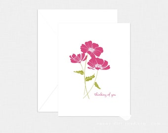 Fuchsia Floral Thinking of You Card