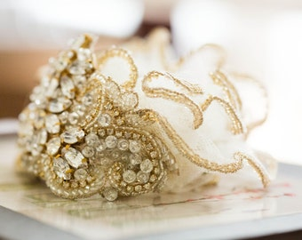Gold beaded wedding garter - Style G12
