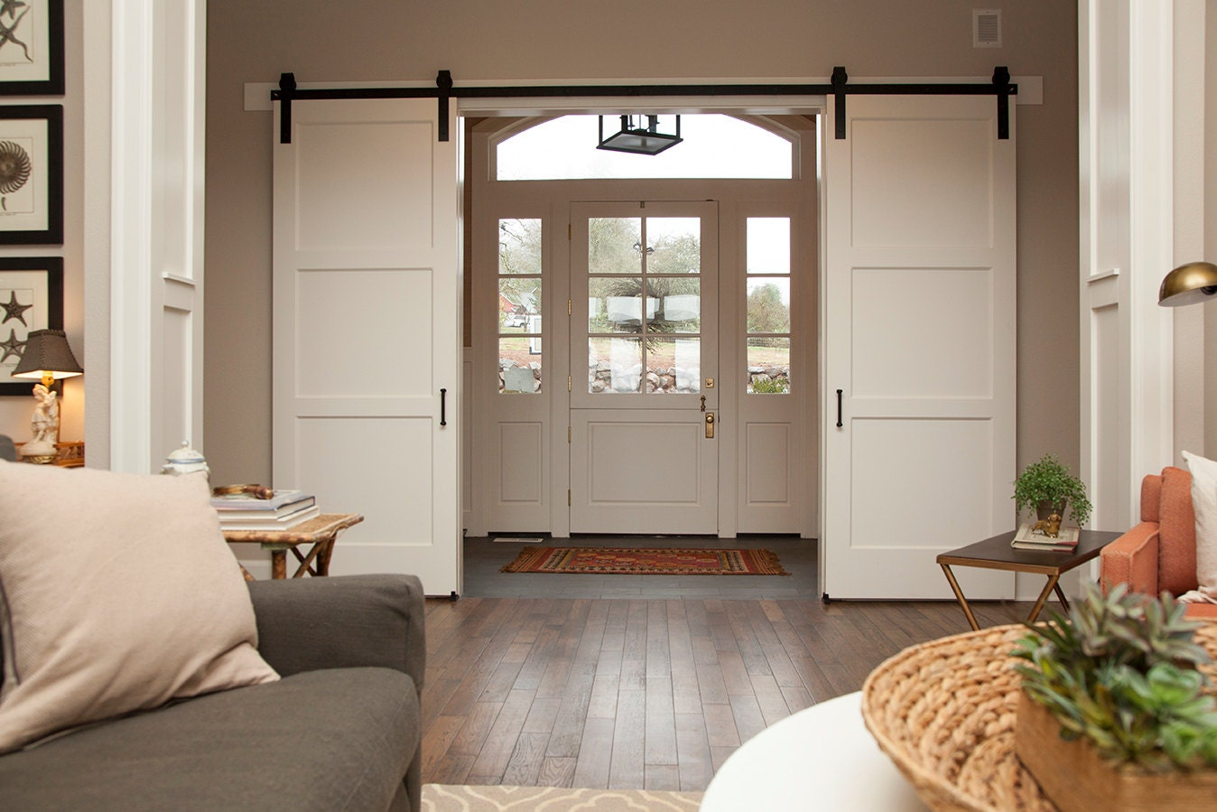 Double door sliding barn door hardware by nwartisanhardware for Sliding entry doors